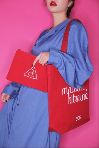 3CE MAISON KITSUNE TOTE BAG #RED