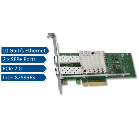 Intel X520-DA2, 2 port 10Gbps SFP+