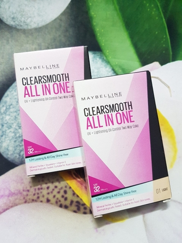 Phấn Trang Điểm Siêu Mịn 5 Trong 1 Maybelline Clearsmooth All In One UV + Lighttening Oil - Control Two Way Cake