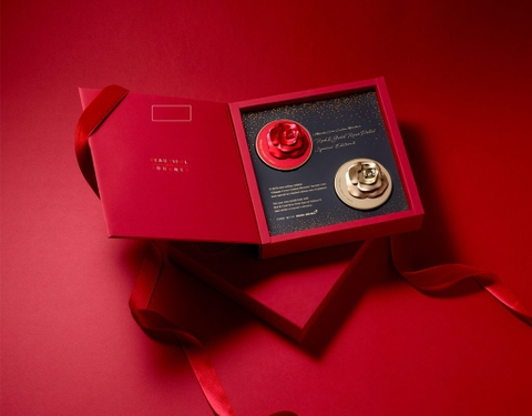 Set 2 Phấn Nước OHUI Ultimate Cover Cushion Moisture Red & Gold Rose Petal Special Edition II