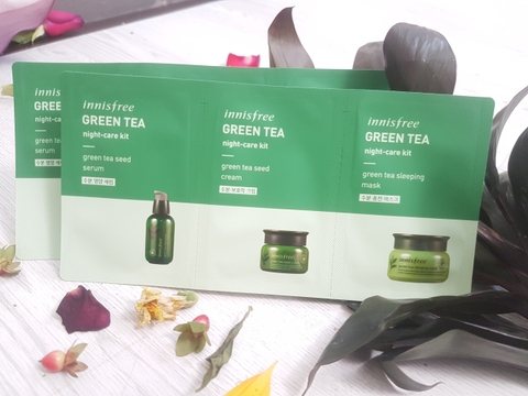 SET 3 SAMPLE CHĂM SÓC DA INNISFREE GREEN TEA NIGHT-CARE KIT