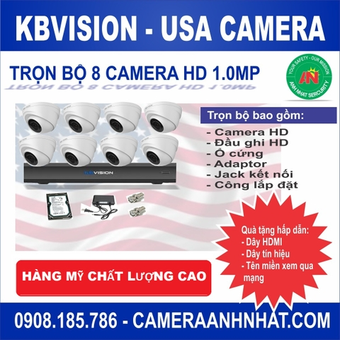 Bộ 8 camera Dome HD 1Mp KBvision USA