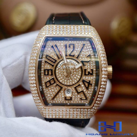 Đồng Hồ Franck Muller Vanguard Rose Gold Full Diamonds