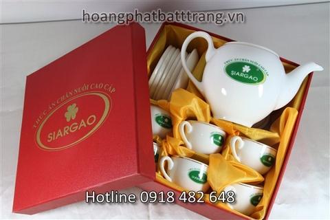 Bộ ấm chén in logo, in logo lên ấm chén - gốm sứ Hoàng Phát giá tốt nhất