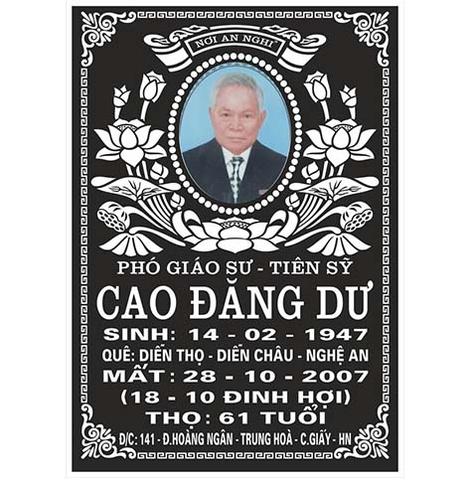 Bia mộ sứ Bát Tràng Phó GS.TS Cao Đăng Dư
