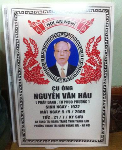 Bia mộ sứ Bát Tràng cụ ông Nguyễn Văn Hậu