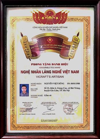 Danh hiệu nghê nhân làng nghề gốm sứ Bát Tràng