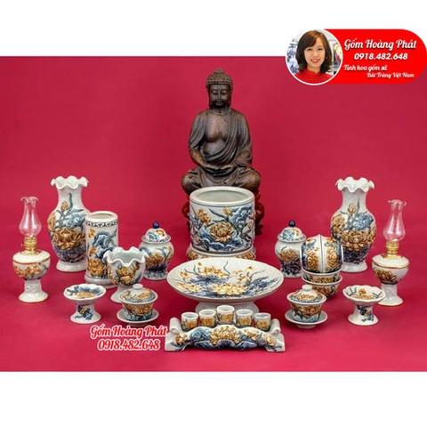 Bộ đồ thờ đắp nổi hoa sen dành cho ban thờ Phật SP4992