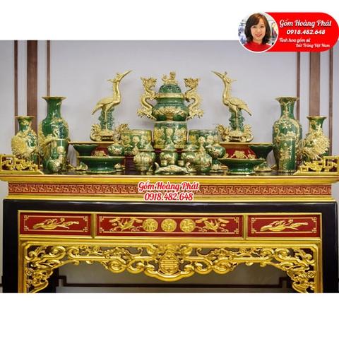 Bộ đồ thờ men xanh ngọc dát vàng cao cấp gốm Bát Tràng SP4999