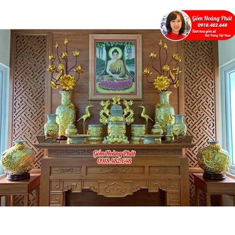 Bộ đồ thờ đắp nổi Lưỡng Long Chầu nguyệt dát vàng cao cấp SP4991
