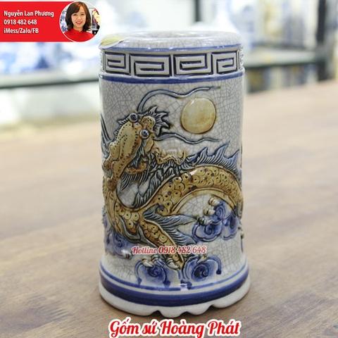 Ống hương rồng nổi men rạn SP4566