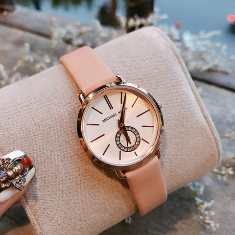 Đồng Hồ Michael Kors MK2735 Petite Portia Rose Gold-Tone Leather Watch