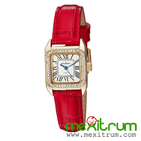 Đồng hồ nữ Peugeot Womens 14K Gold Small Red Leather Band Luxury Dress 3052RD