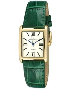 Đồng hồ nữ dây da xanh Peugeot Women's 14K Gold Plated Tank Roman Numeral Green Leather Band Watch 3036GR
