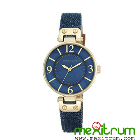 Đồng hồ nữ Anne Klein Women's 10/9168BMDD Gold-Tone and Dark Blue Denim Strap Watch