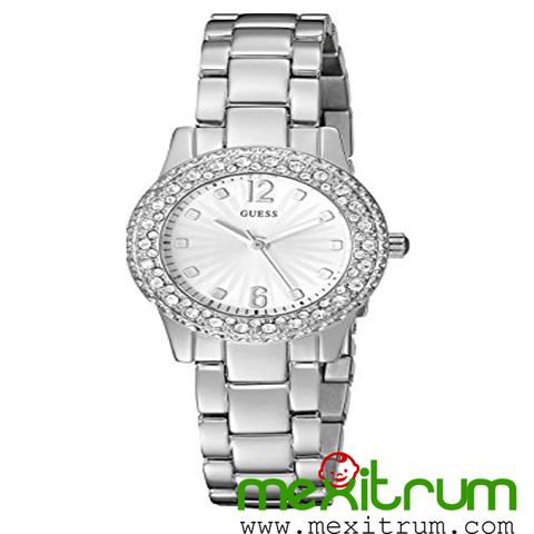 Đồng hồ nữ GUESS Women's U0889L1 Petite Silver-Tone Watch with Silver Dia