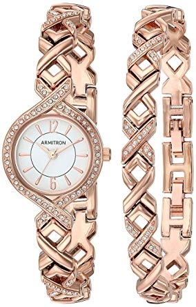 Set đồng hồ nữ dây kim loại mầu vàng case 24mm Armitron Women's 75/5412WTRGST Swarovski Crystal Accented Rose Gold-Tone Watch and Bracelet Set