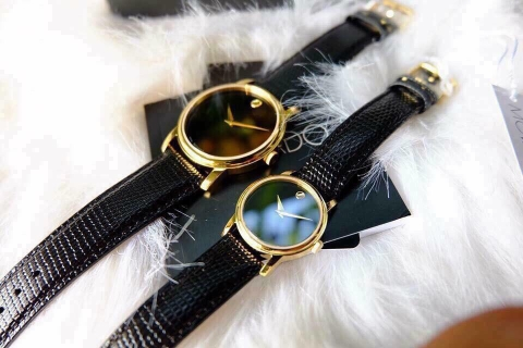 Đồng hồ MOVADO Museum 2100005 và 2100006 Black Dial Black Leather Strap Ladies Watch