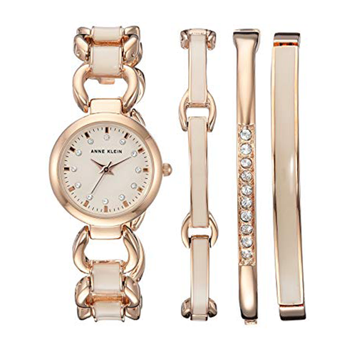Set đồng hồ nữ Anne Klein AK/1952RGST Quartz Metal and Alloy Dress Watch, Rose Gold-Toned