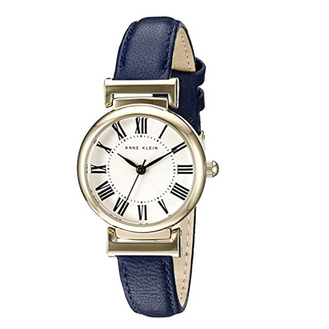 Đồng hồ nữ dây da xanh navy  Anne Klein Women's AK/2246CRNV Gold-Tone and Navy Blue Leather Strap Watch 28mm