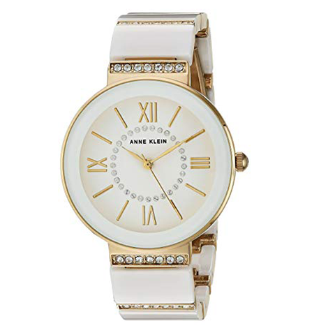 Đồng hồ nữ Anne Klein AK/2832WTGB Swarovski Crystal Accented Gold-Tone and White Ceramic Bracelet Watch 34mm