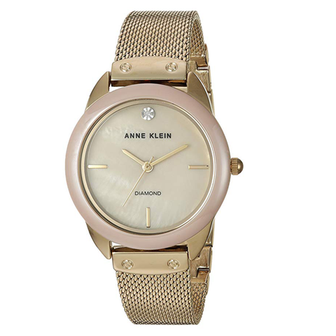 Đồng hồ nữ Anne Klein AK/3258TNGB Diamond-Accented Gold-Tone Mesh Bracelet Watch 32mm