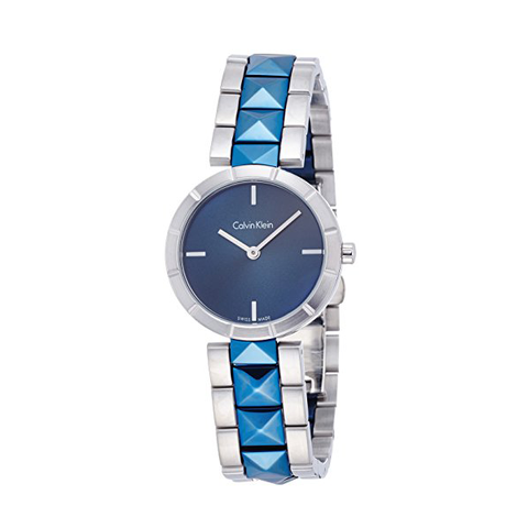 Đồng hồ nữ CK CALVIN KLEIN Edge Blue Dial Large Studded Ladies Watch Item No. K5T33T4N case 30mm màu xanh