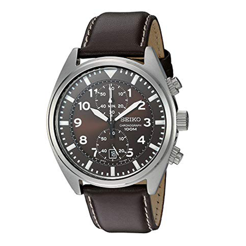 Đồng hồ nam SEIKO SNN241 dây da nâu Stainless Steel Watch with Brown Leather Band 42mm chống nước