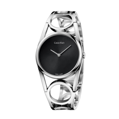 Đồng hồ nữ CK Alvin Klein K5U2S141 Round Black Dial Stainless Steel Ladies Watch 33mm