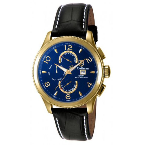 Đồng hồ nam S COIFMAN SC0108 Blue Dial Complete Calendar Black Leather Men's Watch 45mm