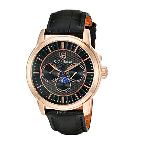 Đồng hồ nam S COIFMAN SC0215 Multi-Function Black Dial Black Leather Men's Watch 45mm