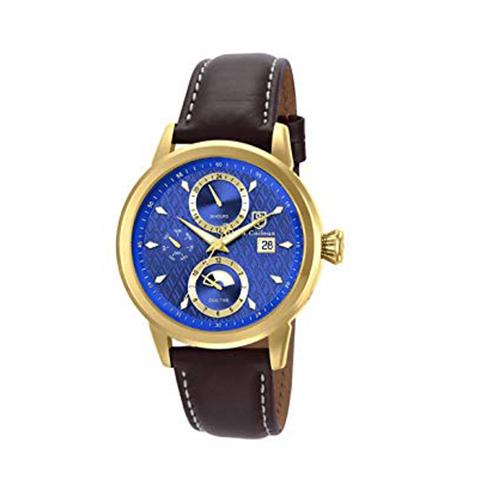 Đồng hồ nam S.Coifman SC0205 Blue Dial Brown Leather Men's Watch case 43mm