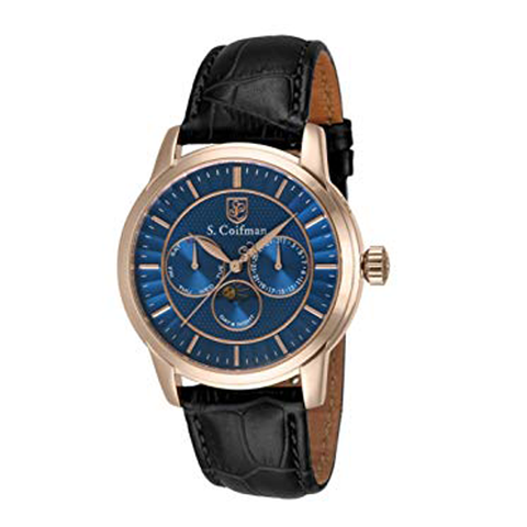 Đồng hồ nam S COIFMAN SC0216 Blue Dial Black Leather Men's Watch 45mm
