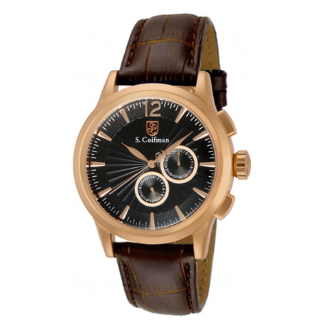 Đồng hồ nam S COIFMAN SC0265 Black Dial Brown Leather Men's Watch 45mm
