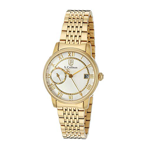 Đồng hồ nữ S COIFMAN SC0338 Light Champagne Dial Yellow Gold-plated dây kim loại màu gold 32mm