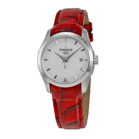 Đồng hồ nữ TISSOT dây da đỏ vân Couturier White Dial Red Leather Ladies Watch T0352101601101 case 33mm