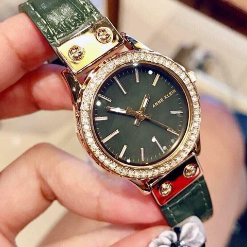 Đồng hồ nữ dây da xanh Anne Klein Women's AK/3250GMGN Swarovski Crystal Accented Gold-Tone and Green Leather Strap Watch  30mm