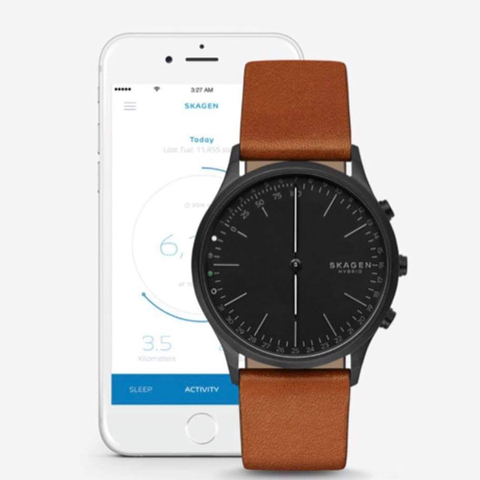 Đồng hồ nam SKAGEN SKT1202 Connected Men's Jorn Stainless Steel and Leather Hybrid Smartwatch, Color: Black, Brown (Model: SKT1202)