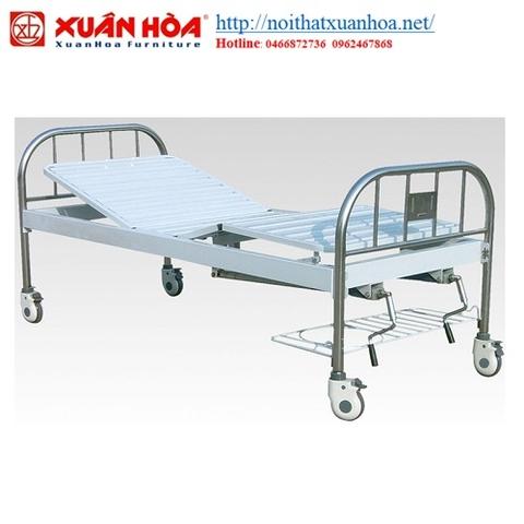 giường y tế inox 2 tay quay
