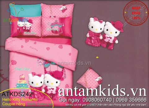 Chăn ga gối in hình Hello Kitty Fashion Romantic Couple hồng ATKDS242