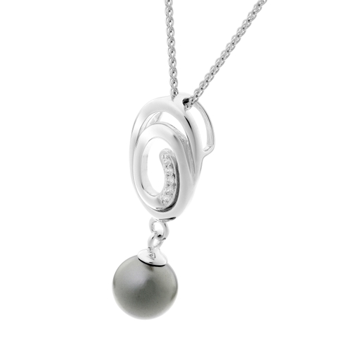 Dây Chuyền Orphelia Pendant Spiral With Grey Pearl Zirc