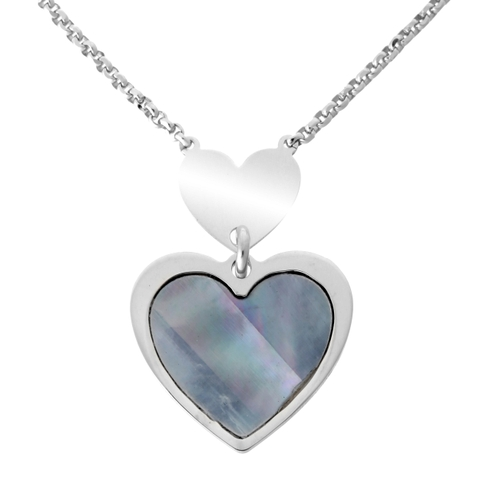 Dây Chuyền Orphelia Necklace Multiple Hearts Grey Mop