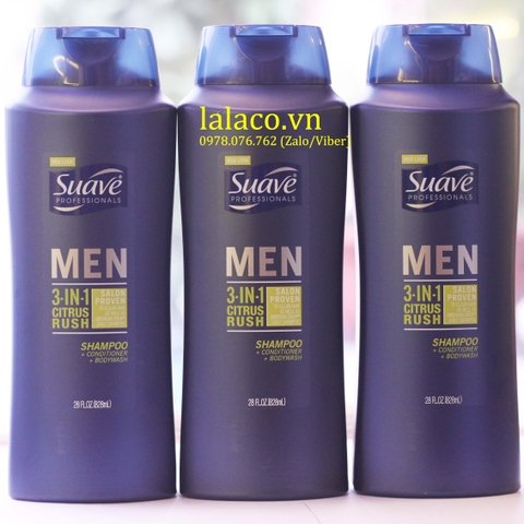 Tắm, gội, xả Suave Men 3 in 1 Shampoo, Conditioner and Body Wash (Mỹ) 828ml