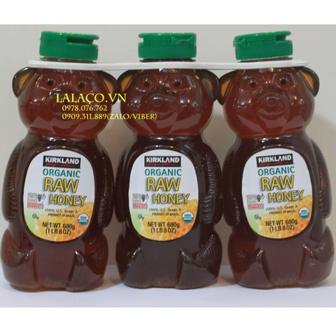 Mật ong Kirkland Organic Honey Bear 680g