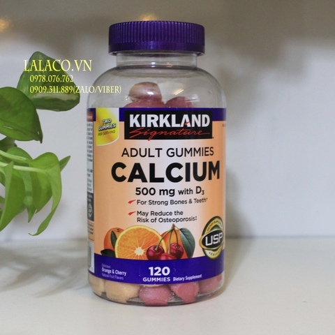 Kẹo dẻo Kirkland Calcium 500 mg with D3 120 Gummies
