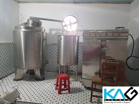 bộ nồi nấu rượu 200kg lắp đặt hoàn thiện tại Sơn La