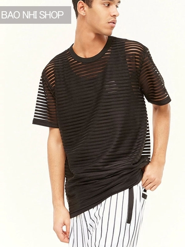 Áo Thun Forever21 Men Sheer Mesh-Striped Tee