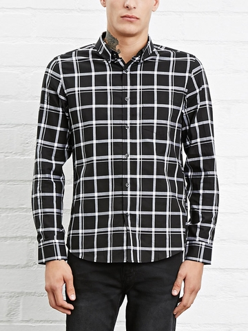 Áo Sơ Mi Ca Rô Forever21 Slim-Fit Plaid Shirt