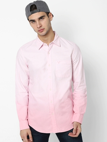 AMERICAN EAGLE OUTFITTERS Ombre-Dyed Shirt with Patch Pocket
