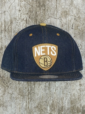 Mũ Nón Snapback Mitchell And Ness Brooklyn Nets Denim Fitted Snapback